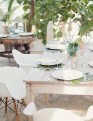 Natural beach wedding reception decor