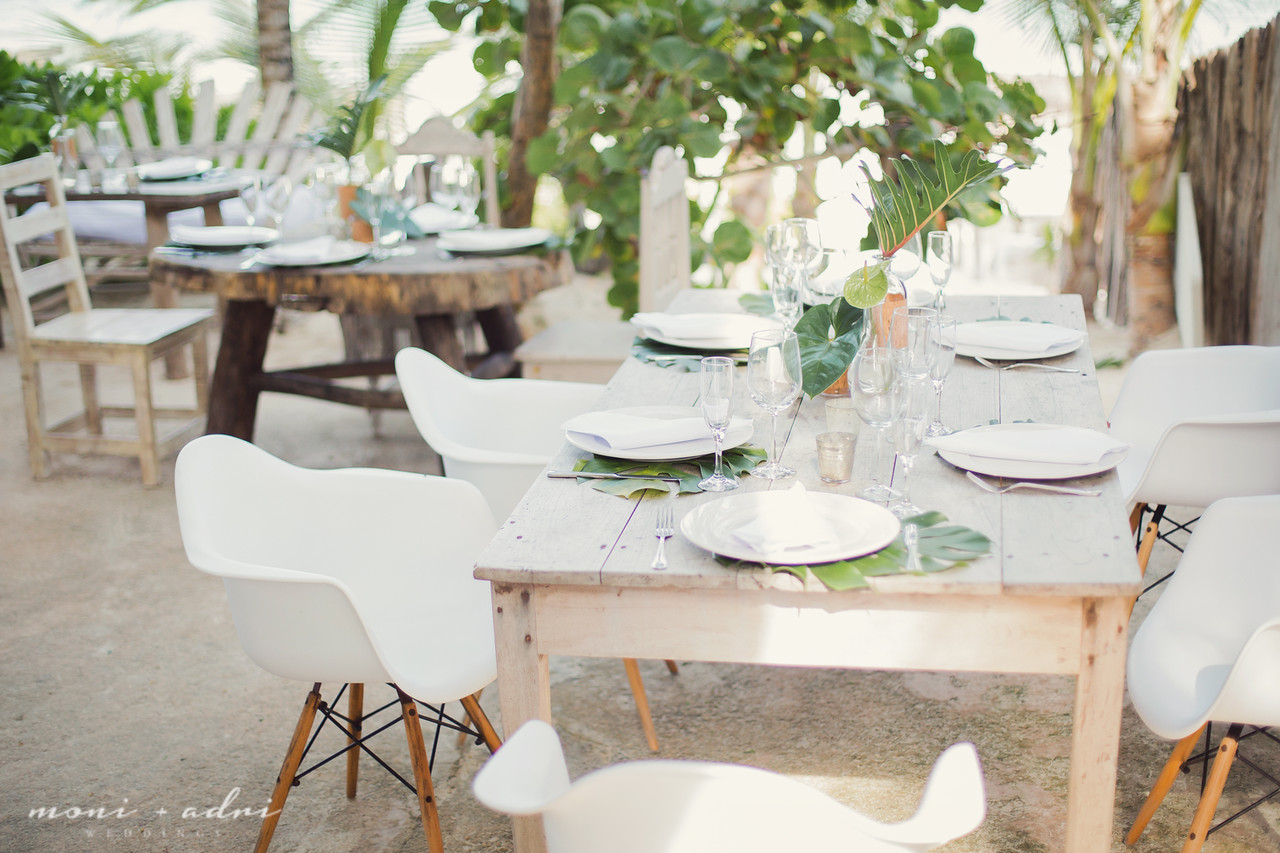 Natural beach wedding reception decor