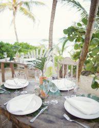 Tropical beach wedding reception decor