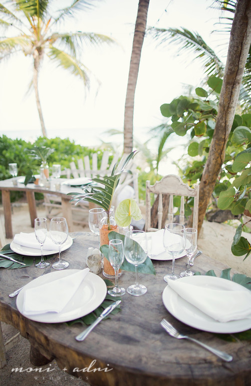 Tropical beach wedding reception decor