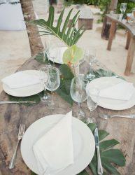 Palm leaves reception decor