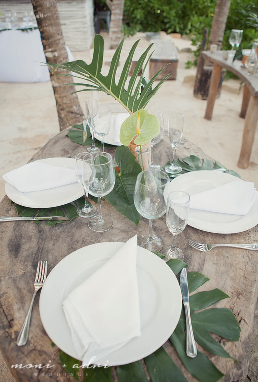 Palm leaves reception decor