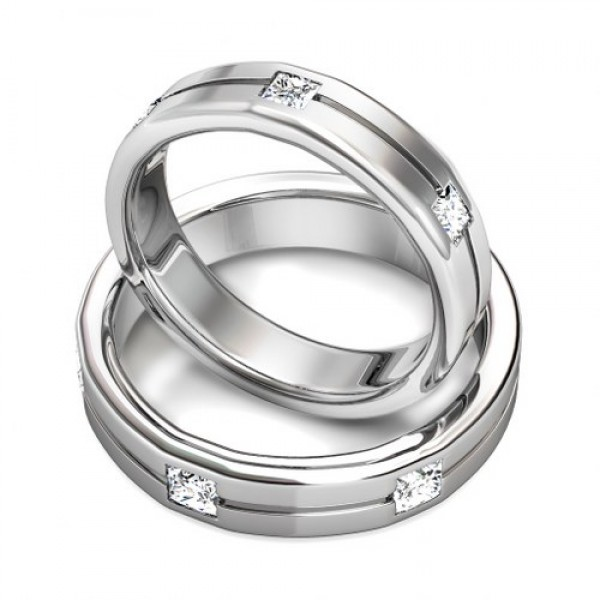 Matching wedding bands in white gold