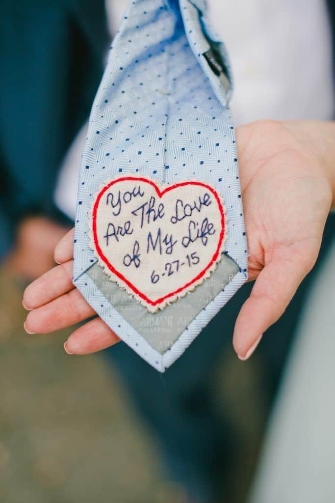 Love message on a wedding tie