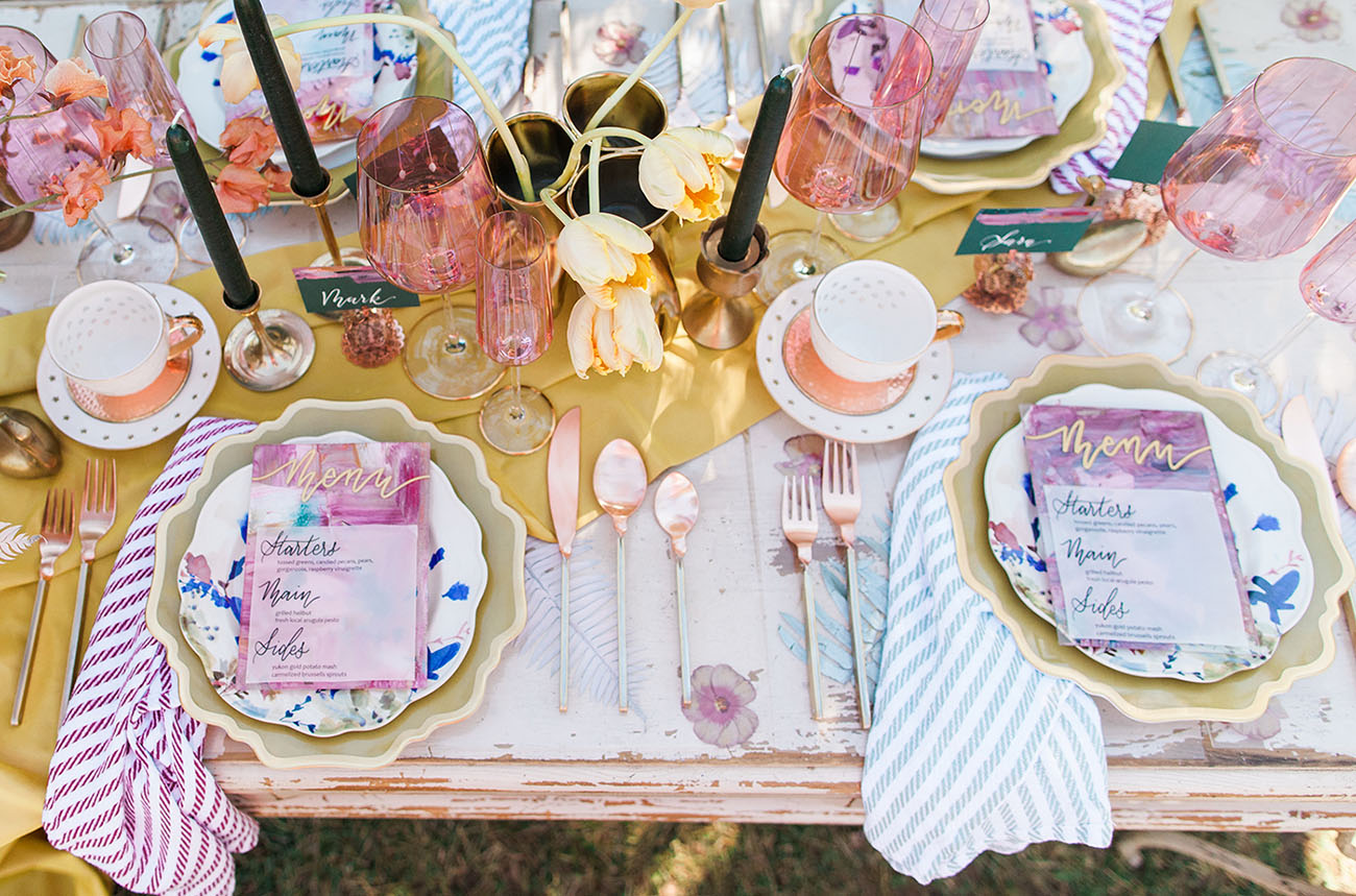 Spring wedding table setting